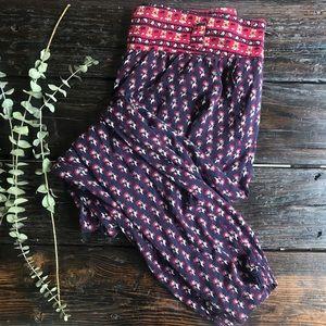 Forever 21 Red Floral Boho Harem Pants